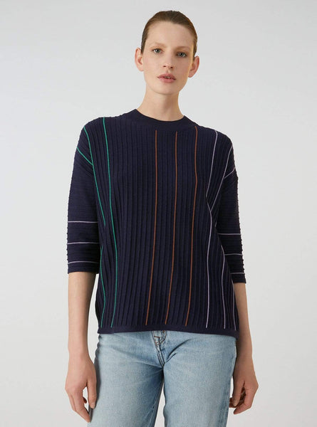 Luccaa vertical stripes - pullover - evening blue