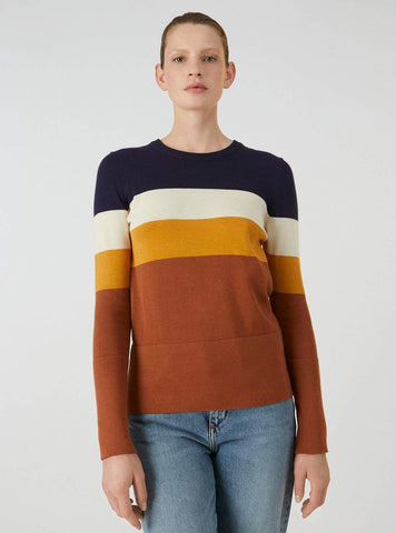 Mildaa color block - knitted pullover - maroon/evening blue