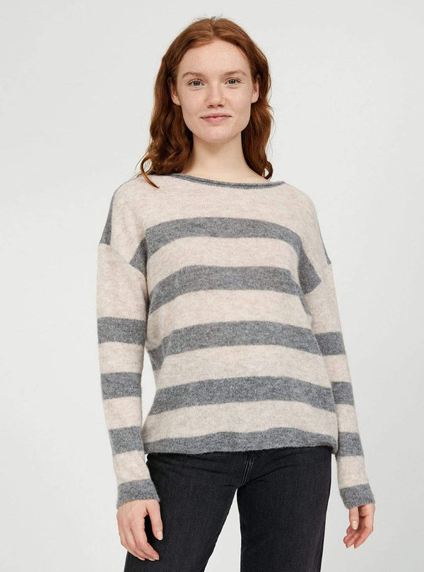 armedangels Womens sweaters Anaa fine stripes - knitted sweater - light caramel/frozen mid grey