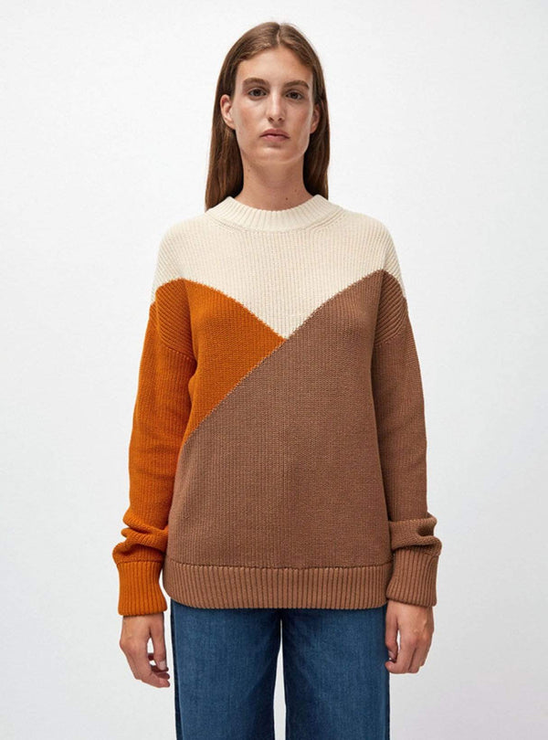 ARMEDANGELS Womens sweaters Antonellaa colour block - sweater - dark caramel/pumpkin