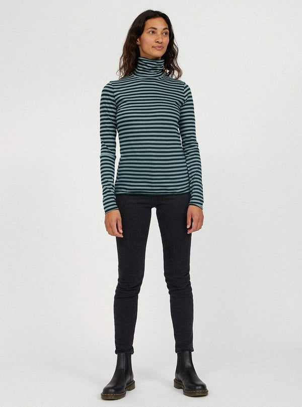 armedangels Womens sweaters Malenaa stripes - turtleneck - deep lake/soft moss