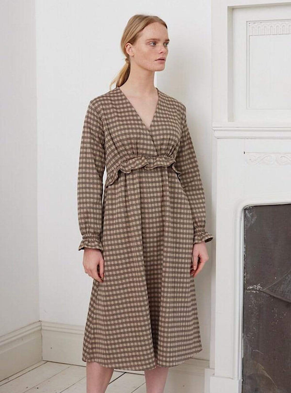 Beaumont Organic dress Inez jay - dress - mini brown check