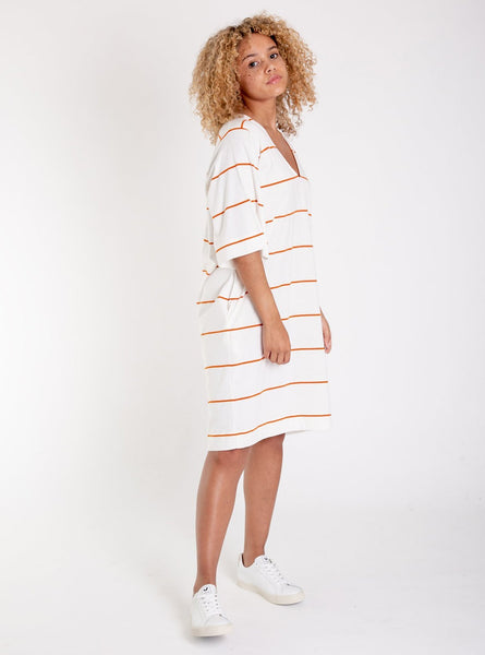 Sasha-sue organic cotton dress - off white/madder