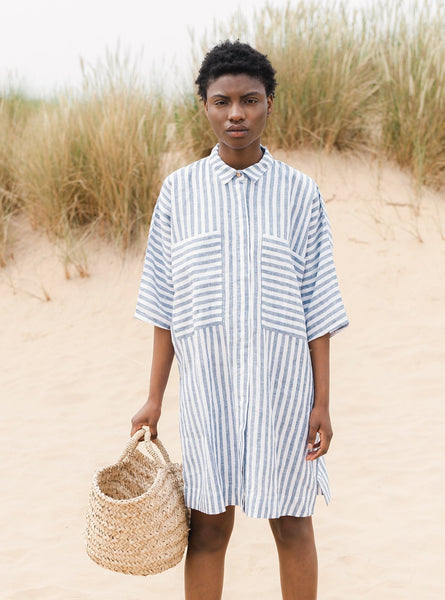 Marsha-sue linen shirt - wide blue stripe
