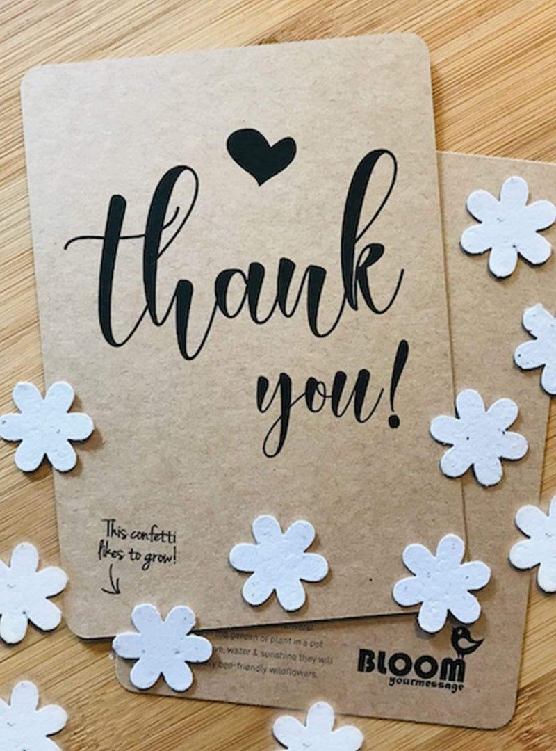 Bloom your message Stationary Confetti postcard - thank you