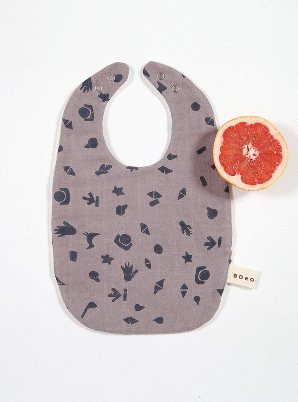 boro*mini Kids accessories Baby bib - sunny grey-print