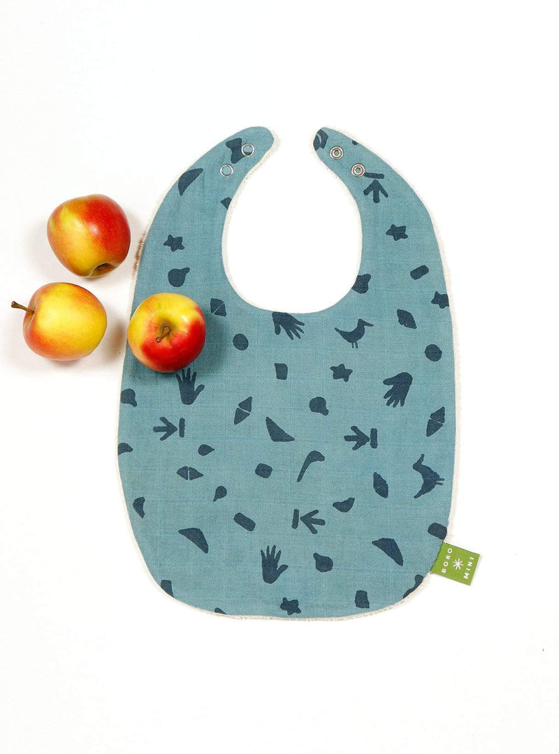 boro*mini Kids accessories Baby bib - teal green-print
