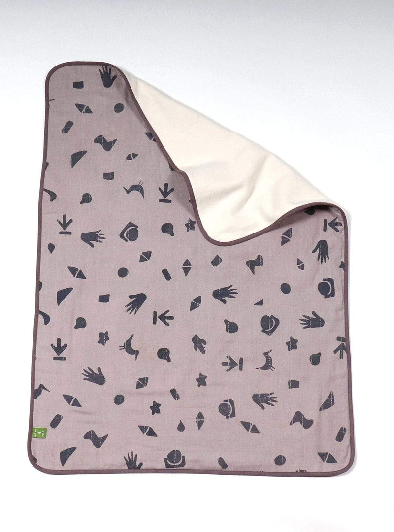 boro*mini Kids accessories Baby blanket - sunny grey-indigo-print