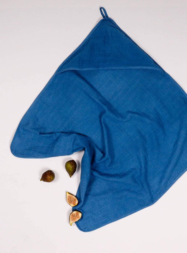 boro*mini Kids accessories Hooded towel - indigo blue-uni