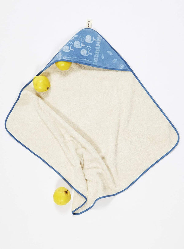 boro*mini Kids accessories Hooded towel - indigo blue-whale-print