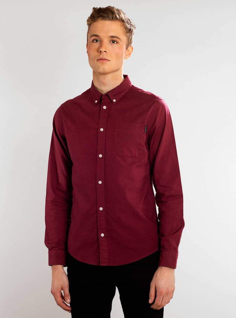 Dedicated Mens shirts Varberg oxford - shirt - burgundy