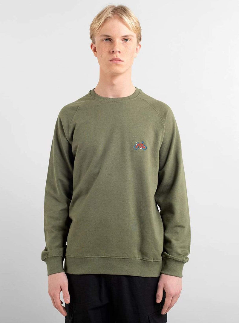 dedicated Mens sweaters Sweatshirt malmoe stitch bike - leaf green