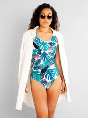 Swimsuit rana color leaves - green