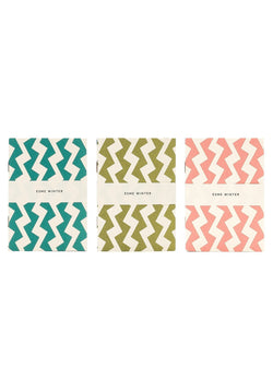 Esme winter stationary Three pocket notebooks - Olive green/pink/green/white