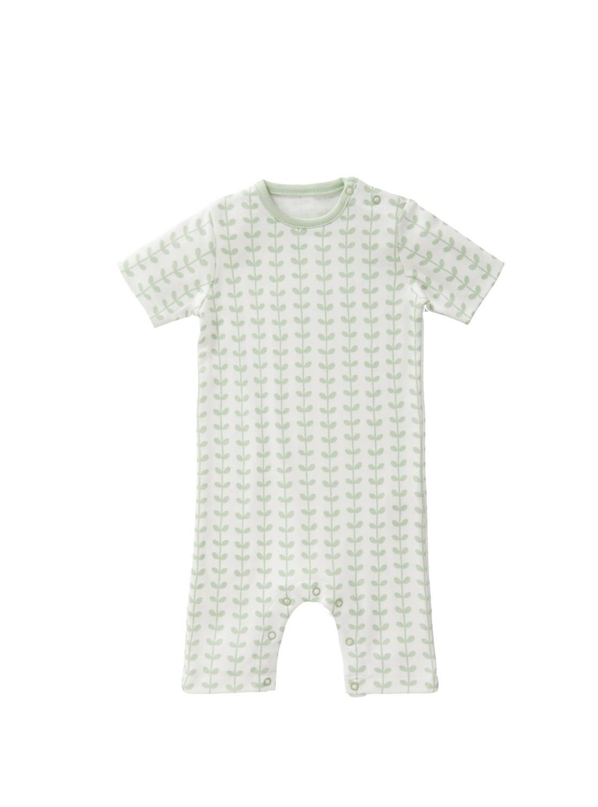 Leaves - short sleeve baby bodysuit - mint