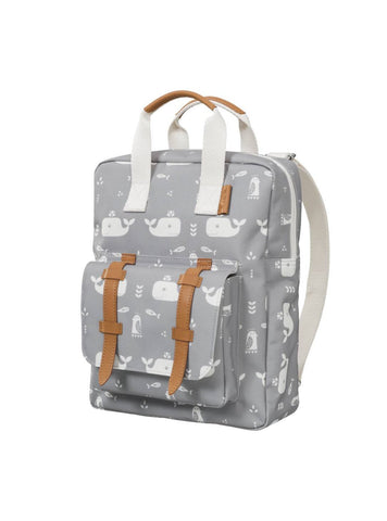 Whale - backpack - grey/white
