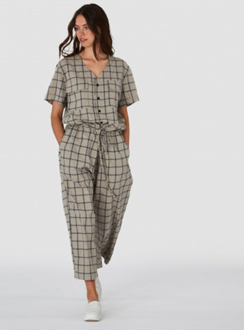 Kings of Indigo jumpsuit S Rosalina jumpsuit - beige check