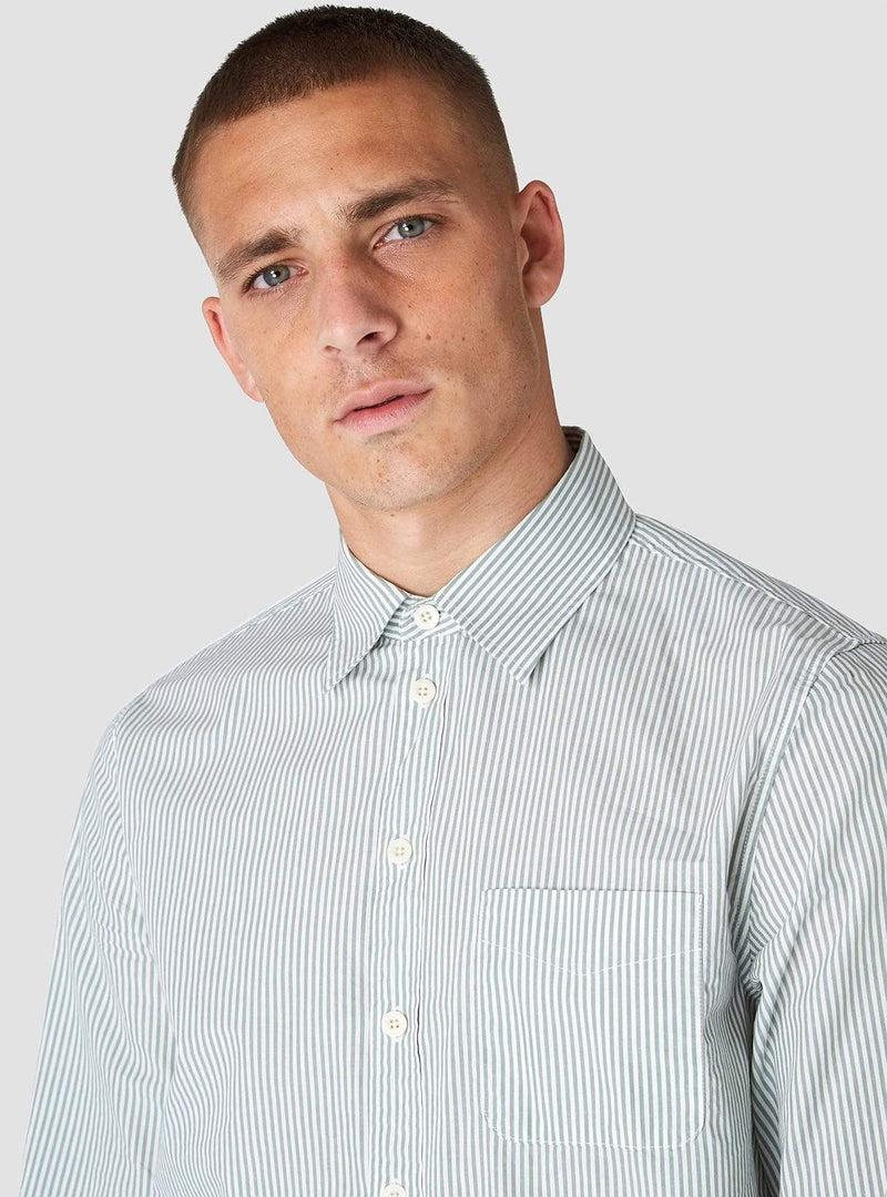 Kings of Indigo Mens shirts Enda - shirt - pear green stripe