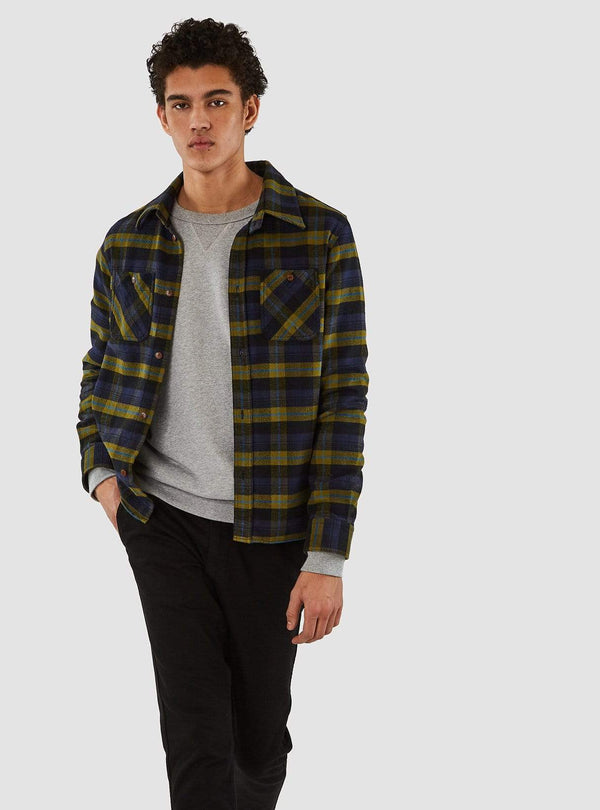 kings of indigo Mens shirts Juntoku - shirt - brushed green check