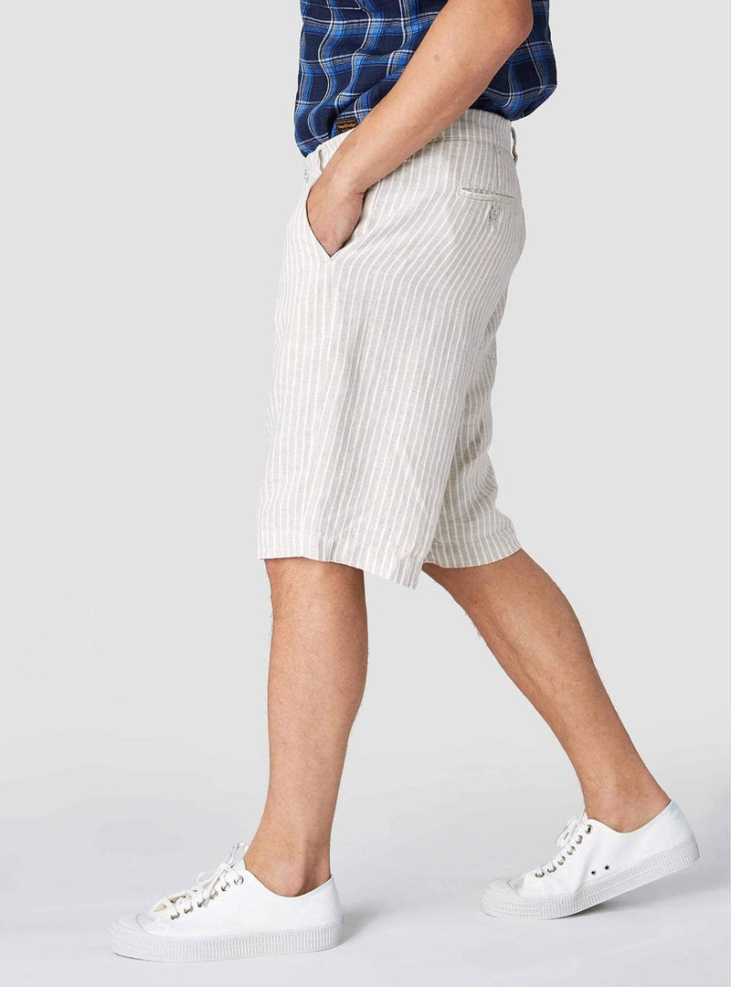 Kings of Indigo Mens shorts Cronus - shorts - beige linen stripe