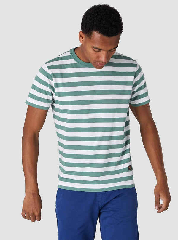 Kings of Indigo Mens t-shirts Darius - t-shirt - pear green stripe