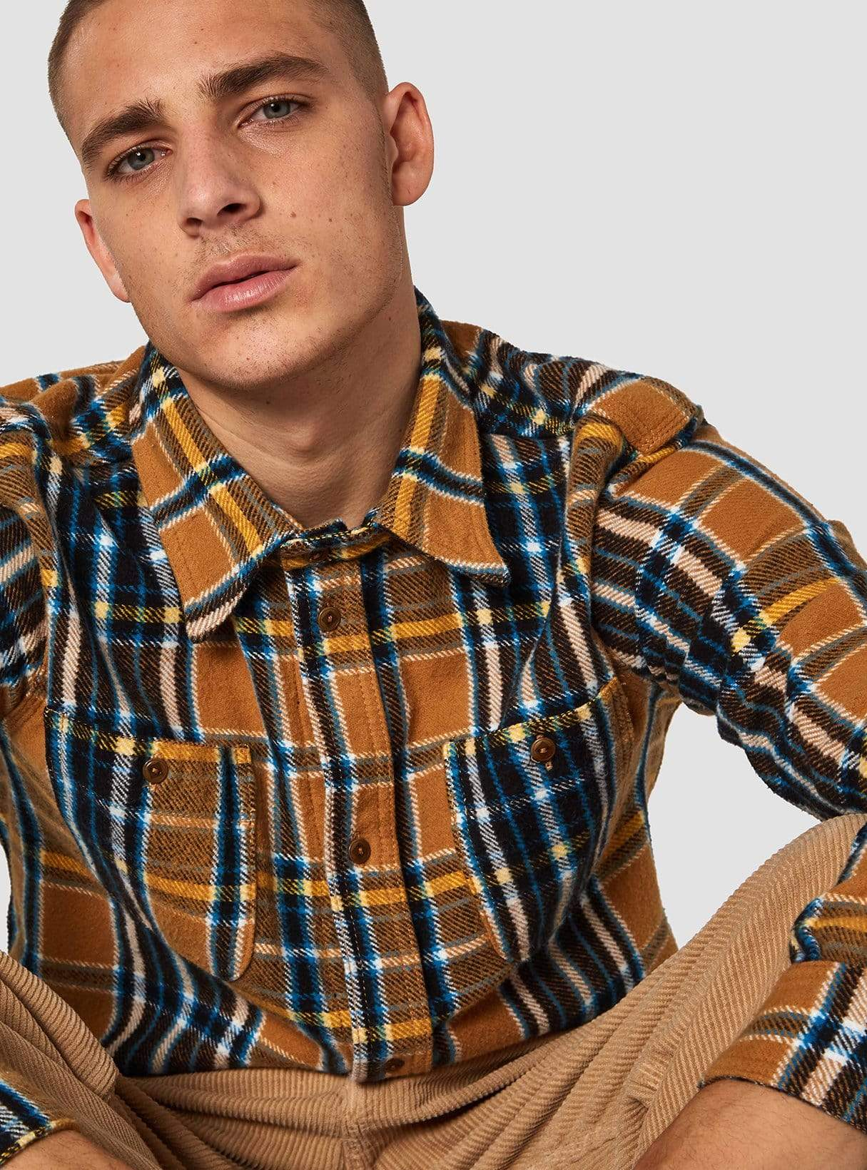 Juntoku shirt - camel flannel check