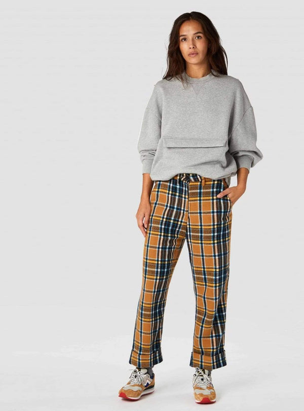 Kings of Indigo trousers Daria trousers - camel flannel check