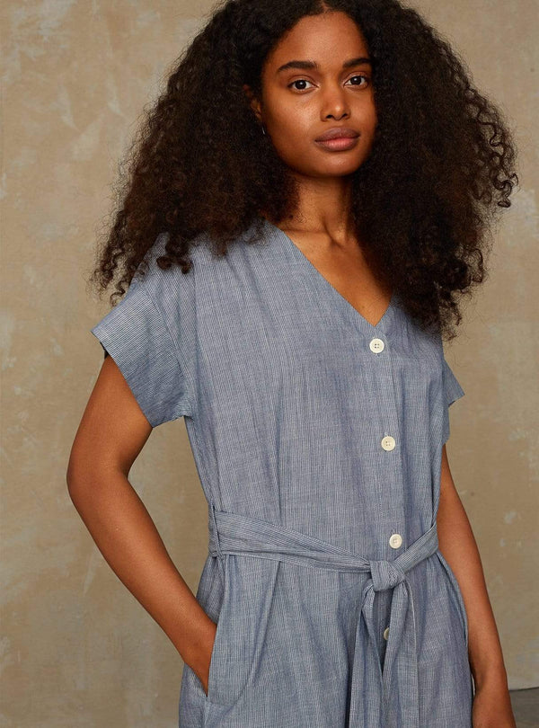 kings of indigo Womens dresses Mia - dress - blue fine stripe