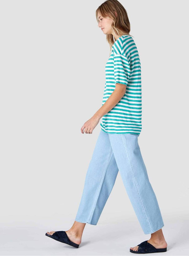 kings of indigo Womens tops Majaji - top - turquoise green stripe