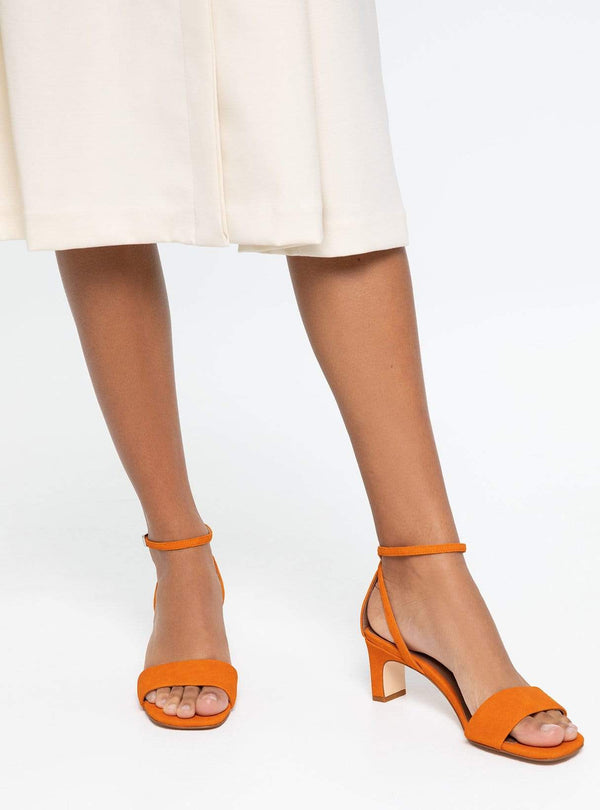 Elodie - block heel sandal - orange