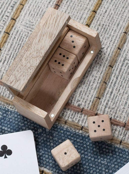 Mango wood - dice set - mango wood - 3.5 x 9.5 x 3.5cm