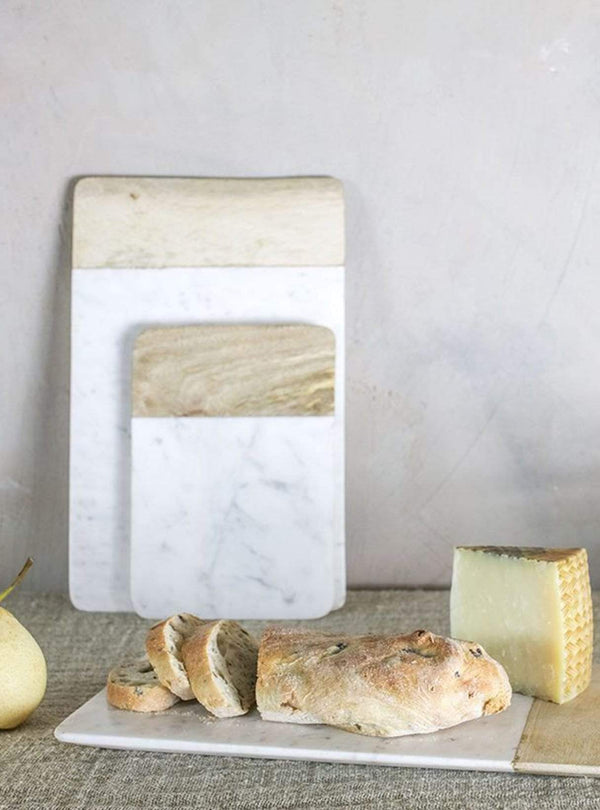 nkuku Kitchen Bwari long marble board white marble & mango