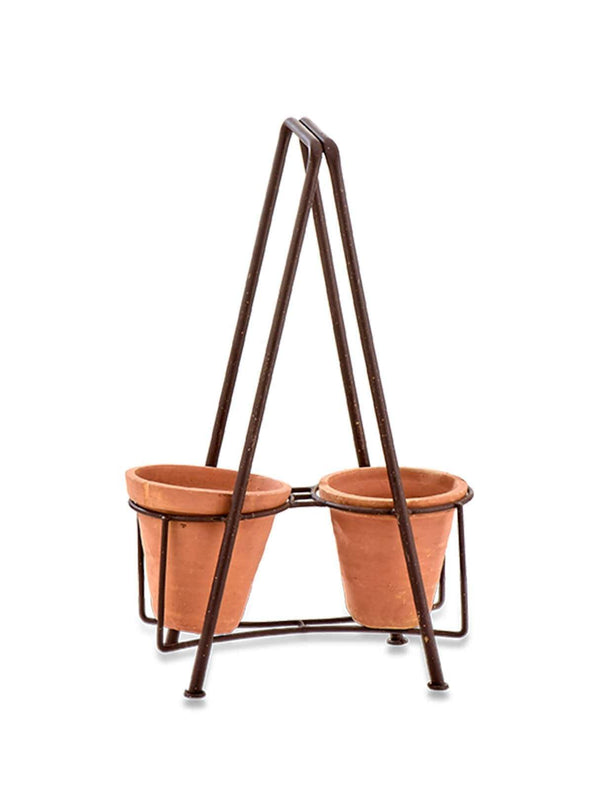 nkuku Living room Jara double planter set - iron