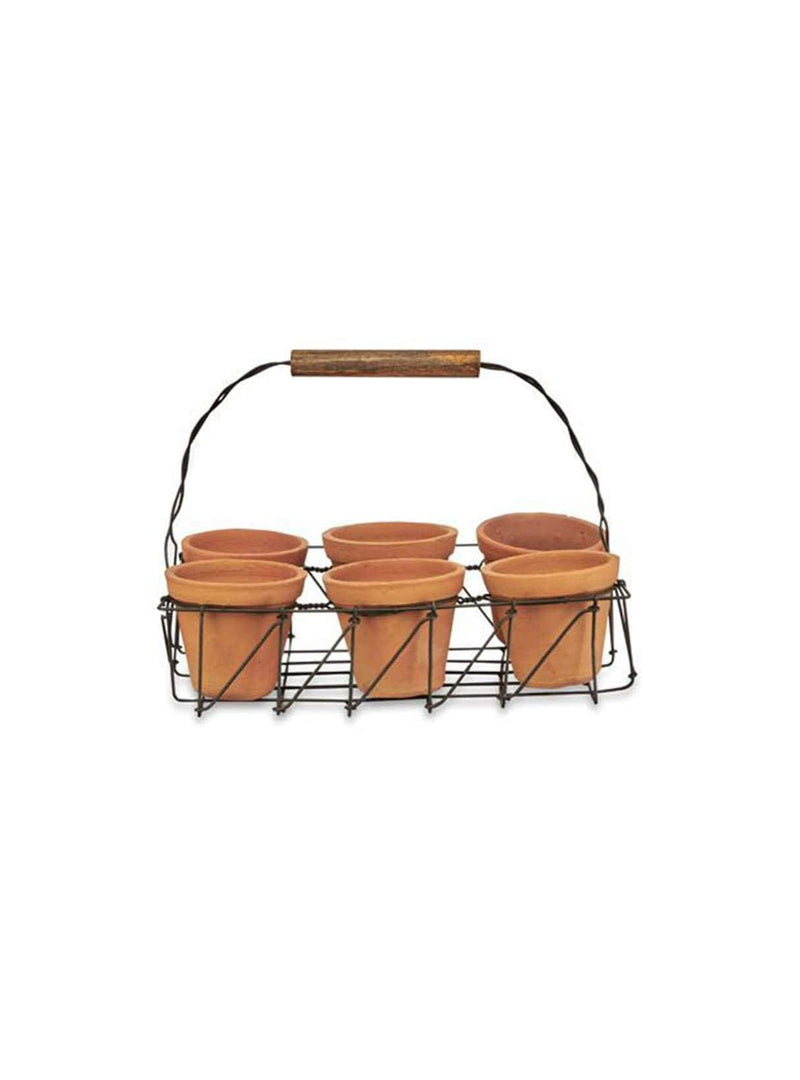 Jara terracotta planter set - terracotta & iron