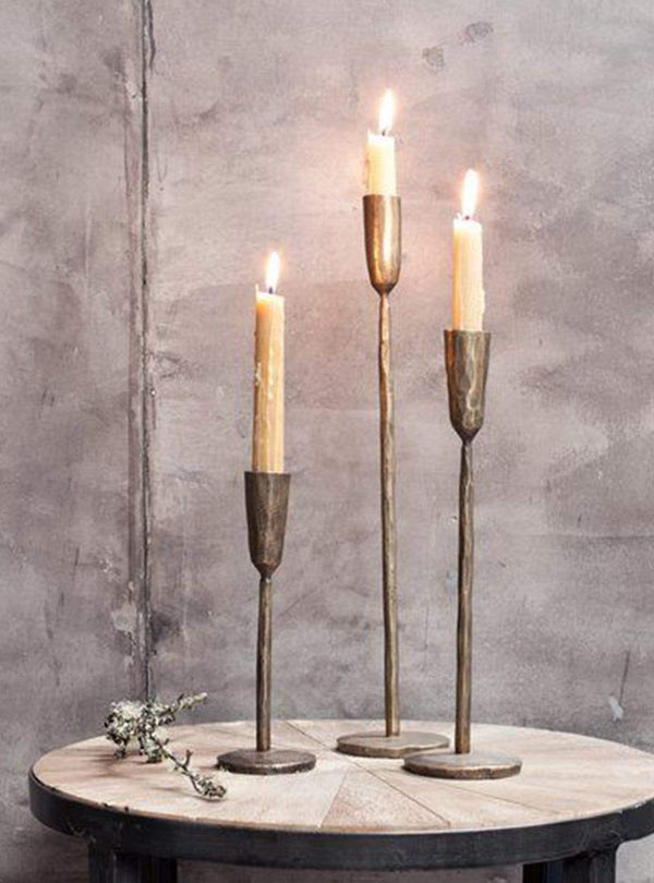 nkuku Living room Mbata - candlestick - antique brass - large