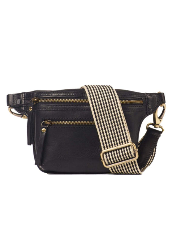 o my bag Womens bags Beck's bum bag - black stromboli leather checkered strap