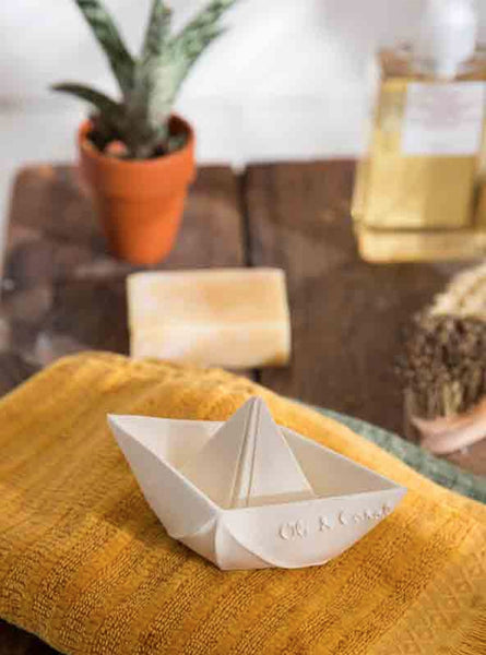 Origami boat bath toy - white