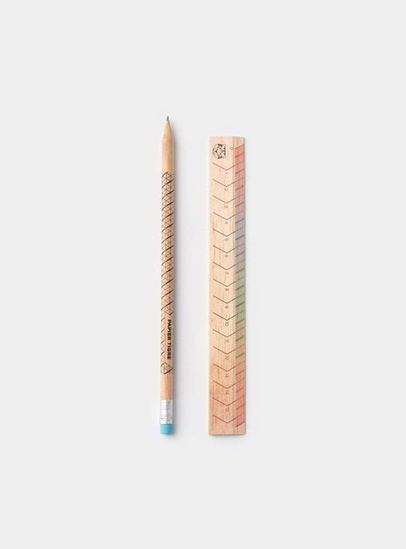 Pencil + ruler kit - wood