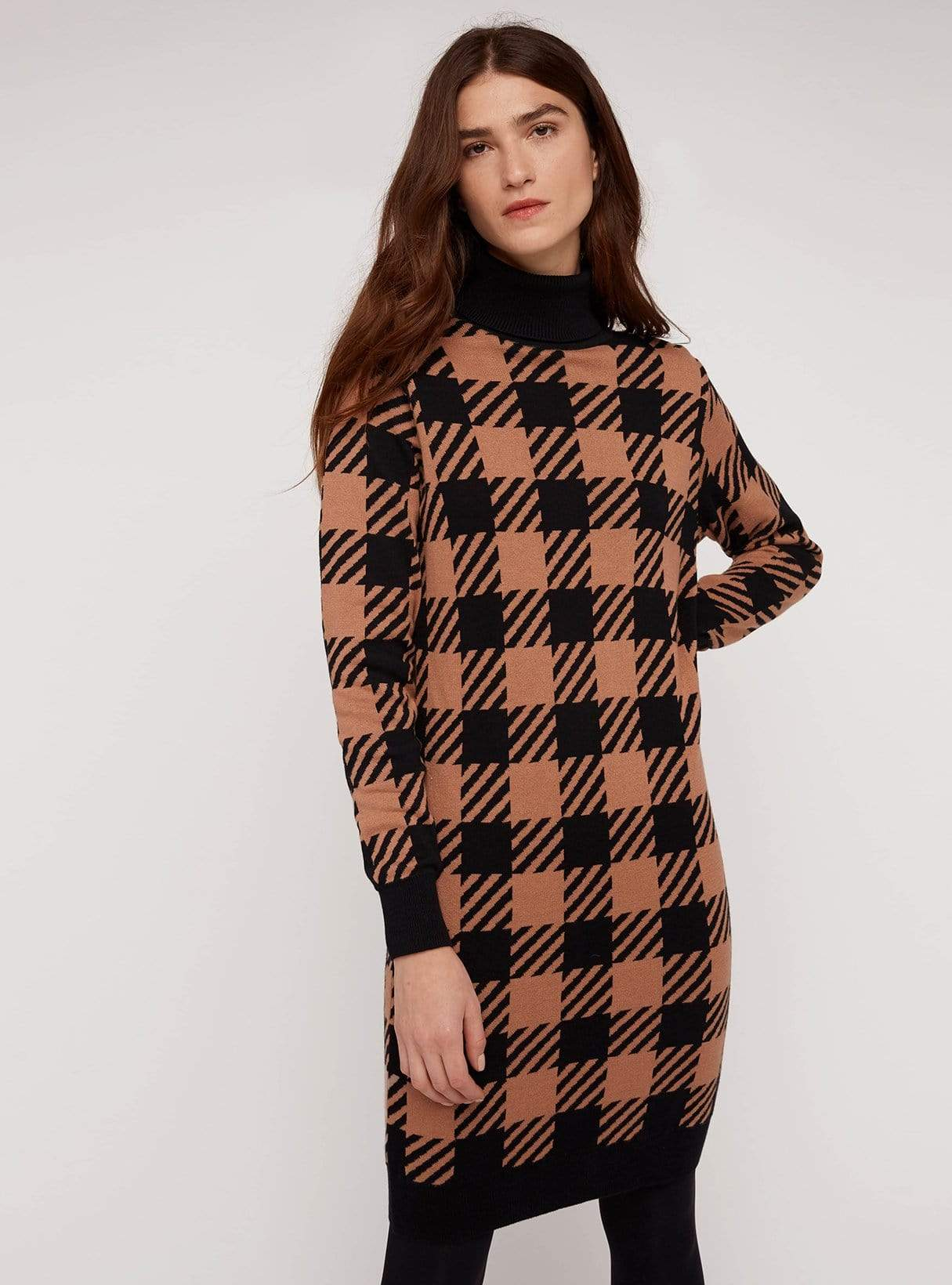 Millie checked knitted dress - black/coffee