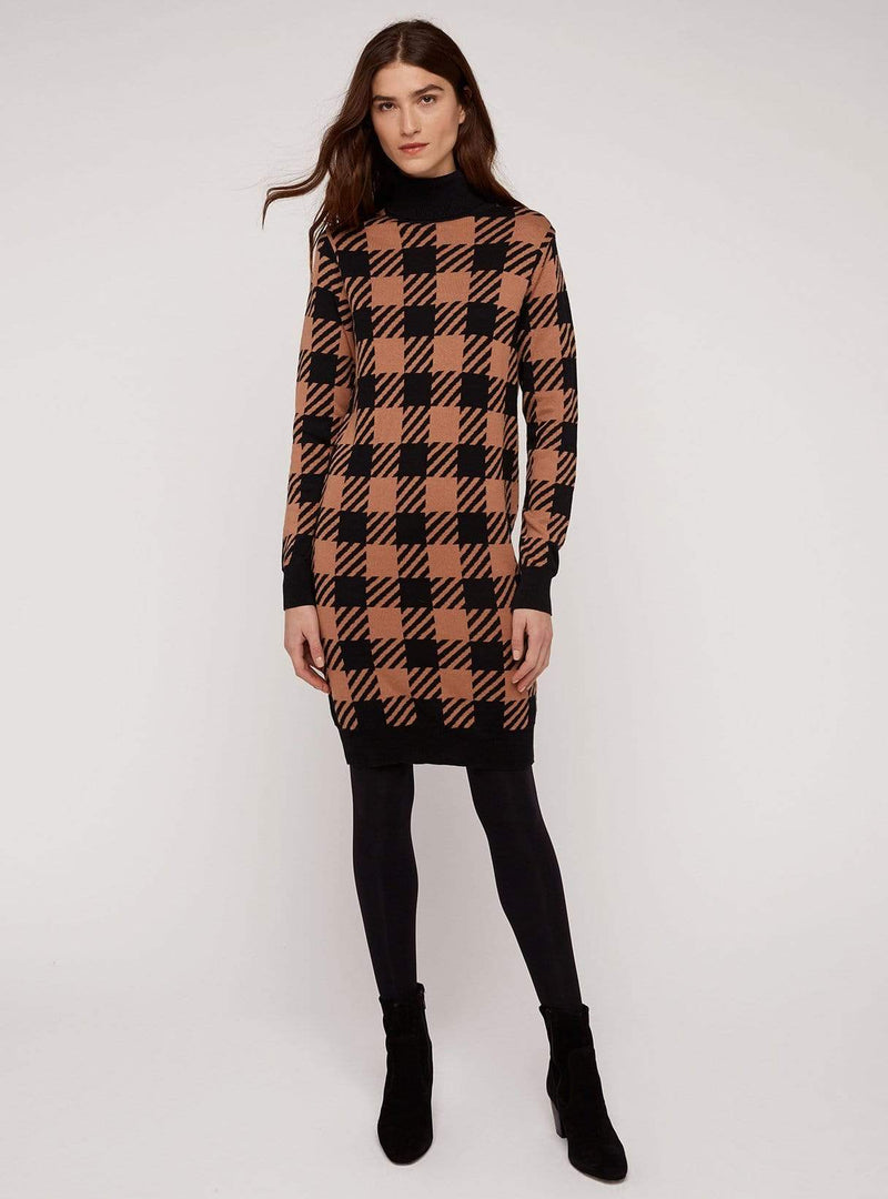 People tree dress Millie checked knitted dress - black/coffee