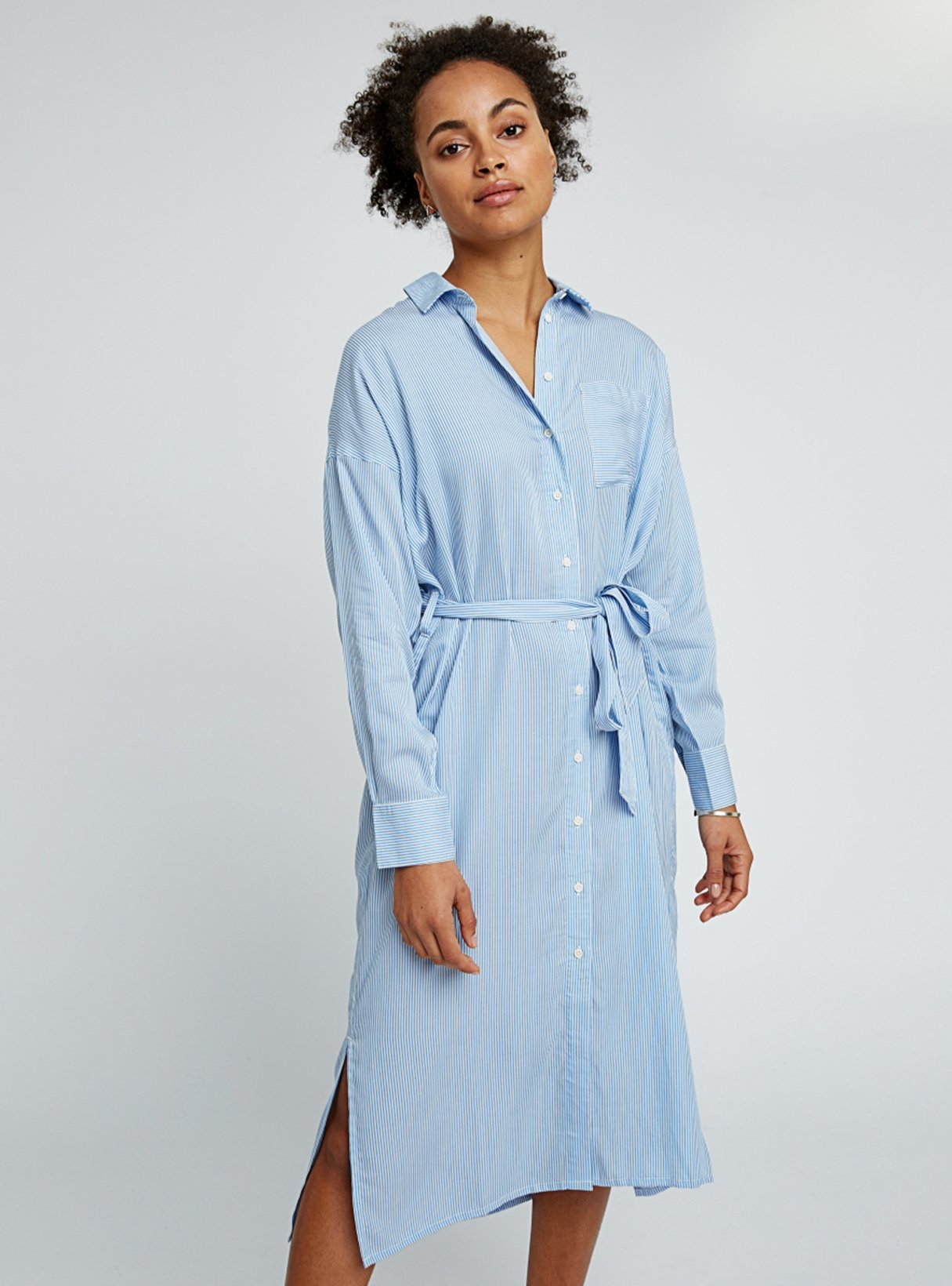 Ginny stripe shirt dress - blue