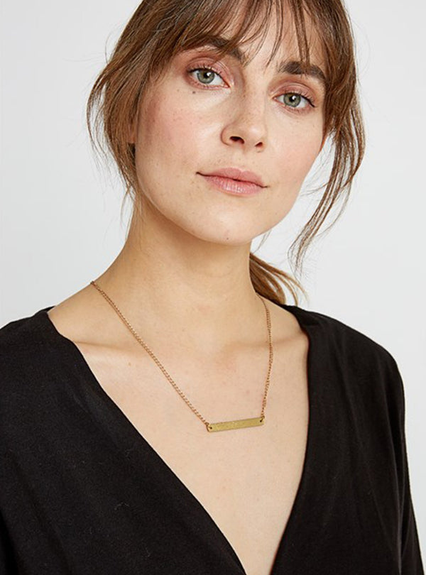 People Tree jewellery Beaten bar necklace - brass