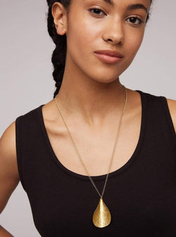 People tree jewellery Curled leaf necklace - brass