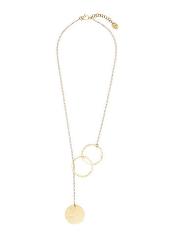 People Tree jewellery Threaded disc necklace - brass