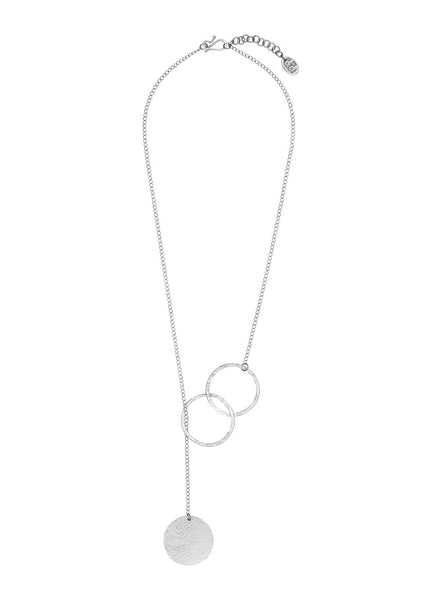 Threaded disc necklace - silver