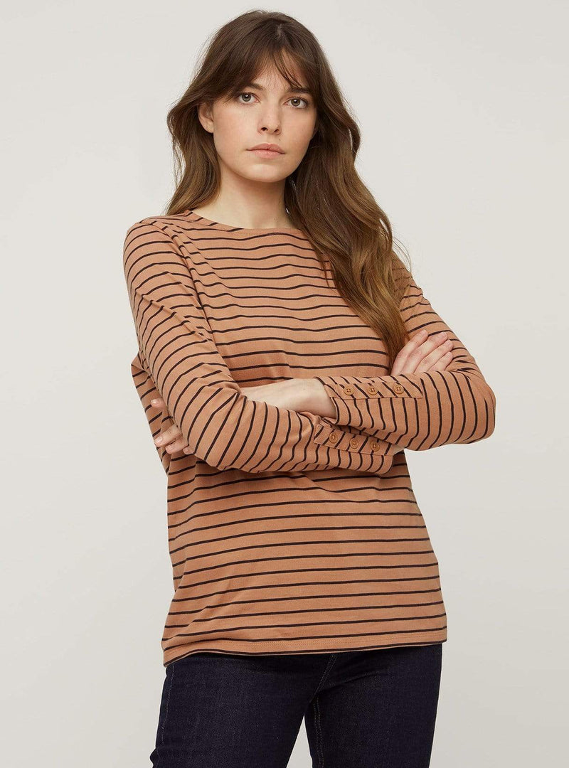 People tree top Felicity stripe top - black and coffee