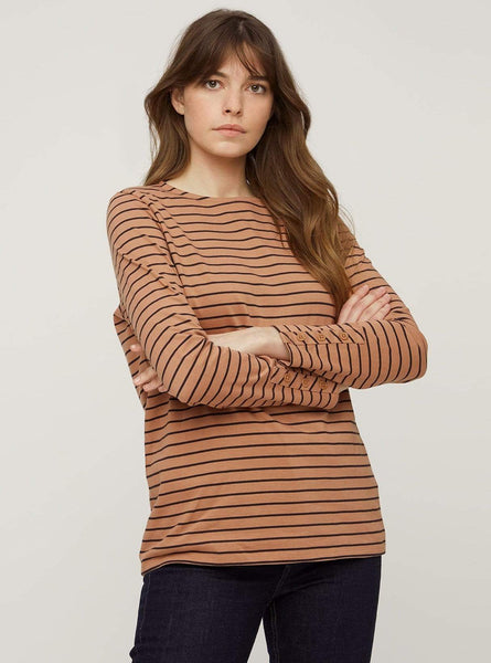 Felicity stripe top - black/coffee