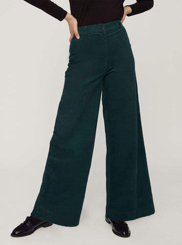 Noelle corduroy wide trousers - green