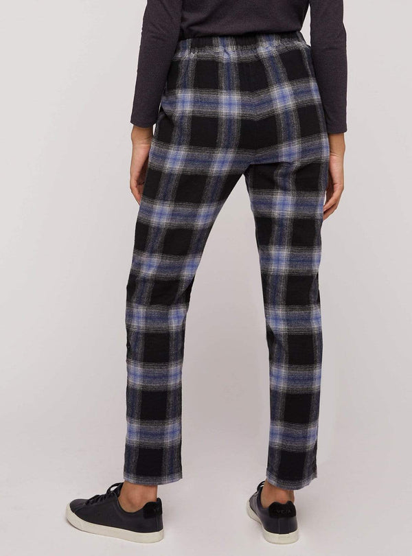 People tree trousers Reiko check trousers - black and blue