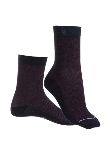 Glitter rib - socks - bordeaux